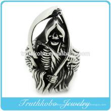Acero inoxidable de alta calidad para hombre grande pesado cráneo gótico Dead Scythe anillo estilo punk para hombre anillos con esmalte negro