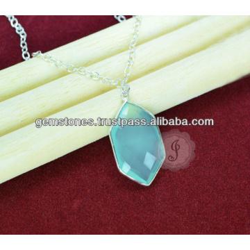 925 Стерлингового Серебра Ожерелье Голубой Халцедон, Оптом Ювелирные Изделия Драгоценный Камень Безель Ожерелье
