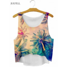 Guagngzhou Fabricant Scoop Neck Tree Print Sweat à manches courtes