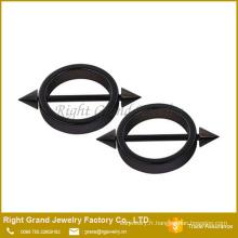 Titane noir en acier chirurgical plaqué cercle Spike en forme montage anneaux téterelles Piercing