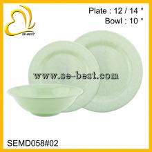 Ensemble de vaisselle Royal Light vert en mélamine, ensemble de dîner en mélamine, vaisselle en mélamine