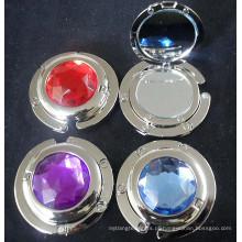 Presentes de moda senhoras metal espelho gancho bolsa com cristal (f2021)
