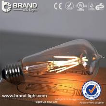 2W 4W 6W ST64 LED Filament Bulb Light avec support de lampe E27, CE RoHS