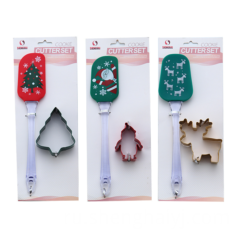 2 pcs colorful Christmas cartoon cookie cutter silicone spatula set