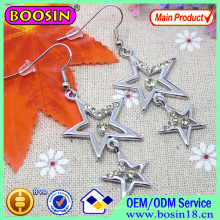 Hollow Round Enamel Moon and Star Fashion Earring #22228