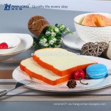 Pure White gild línea cena conjunto taza y platillo en relieve diseño 6 piezas plato y taza conjunto