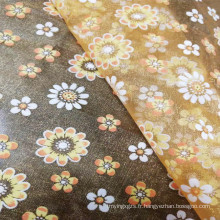 Tissu imprimé élégant de feuille d'or d'organza de haute qualité pour la robe de mariée