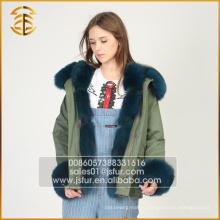 Верх высокого качества длиннего типа неподдельная куртка Fox повелительниц меховой парки