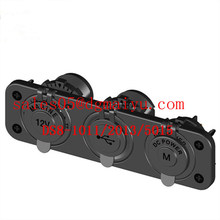Soquete de montagem do painel 12 v carregador de tomada de energia marinha + 2 portas usb tomada de carregador + tomada de herit