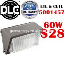 DLC UL ETL chine shenzhen usine plus bas prix led mur lumière extérieure 12 w 20 w 45 w 60 w 80 w 100 w 120 w 60 w led wall pack lumière