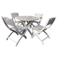 Meranti Outdoor / Gartenmöbel Set - Tischset + 4 Stuhl