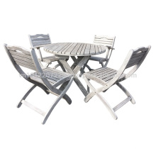 Meranti Ensemble de meuble de jardin / jardin - Ensemble de table + 4 chaise