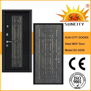 Puerta blindada de alta calidad del MDF de la seguridad con enchapado (SC-A209)