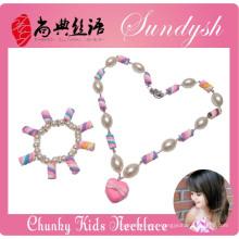 Lindo artesanal Bubblegum Boutique Sugar Pulseira Colar Kid Criança Jewelery Set