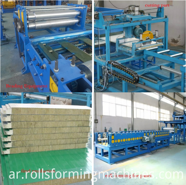 detail of sandwich panel machine