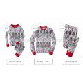 100% cotton long sleeve 2pcs set printed sleepwear stripped matching christmas pajamas in factory price