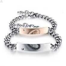 Christmas Gift Engraved Couple Bracelet Set, Lovers Jewelry Zircon Stainless Steel Couple Bracelet