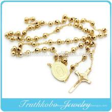 Collar de rosario católico con cuentas de oro mexicano