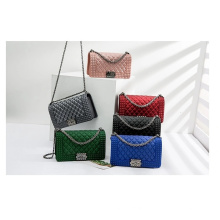 Wholesale New Designers Fashion Ladies PVC Crossbody Bag Luxury Shoulder Purse Handbags Chain Rainbow Jelly Bags with Lock