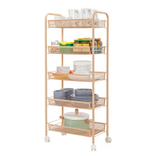 Estantería de uso múltiple con unidades de almacenamiento de malla trolley y metal de 3 niveles Carrito rodante