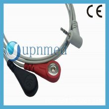 Holter One piece 3-lead ECG Cable with leadwires