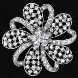 fashion rhinestone brooches Jewelry elegant flower shining crystal pins for Women wholesale bridal jewelry
