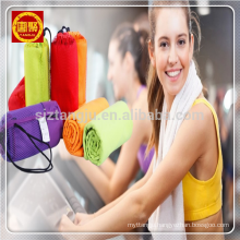 Hot selling microfiber towel in mesh bag, suede towel sports towel