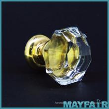 Taiwan Fabricante Botão de vidro branco octogonal com haste de bronze