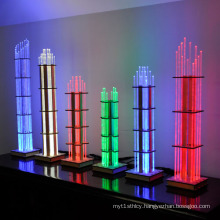 Brightly Illuminated Acrylic Skyscrapers Display Stands