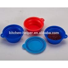 Venda Por Atacado Preço de fábrica colapsável Viagem Grade Alimentos Silicone novidade Pet Bowls / Dog Feeder Bowl / colapsável Pet Dog Cat Bowl