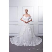 Beading sleeve sweetheart tule wedding dress
