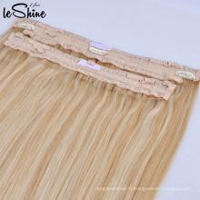 Top qualité brésilien en gros dentelle fil invisible halo extension de tissage de cheveux 100% remy unique tiré