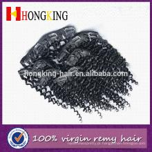 Cabelo humano do Virgin de 100% nenhum derramamento nenhuma extensão encaracolado Kinky indiana do cabelo de Remy do emaranhado