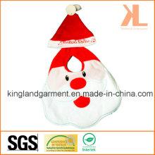 Qualität Felt Weihnachtsdekoration Red Santa Face Baby Lätzchen mit Hut
