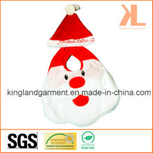 Quality Felt Christmas Decoration Red Santa Face Baby Bib with Hat