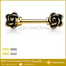 Chapado en oro plata acero inoxidable esmalte rosa anillo de pezón