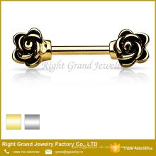 Edelstahl Silber vergoldet Rose Emaille Nippel Ring