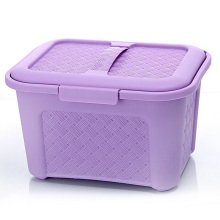 Weave Design Plastic Storage Box with Handle (SLSN006)
