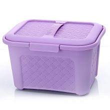 Caja de almacenaje plástica del diseño del tejido con la manija (SLSN006)