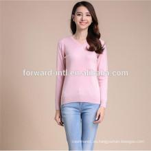 Suéter 100% del cuello en v del grupo de la edad de los materiales y de los adultos de la cachemira para las mujeres