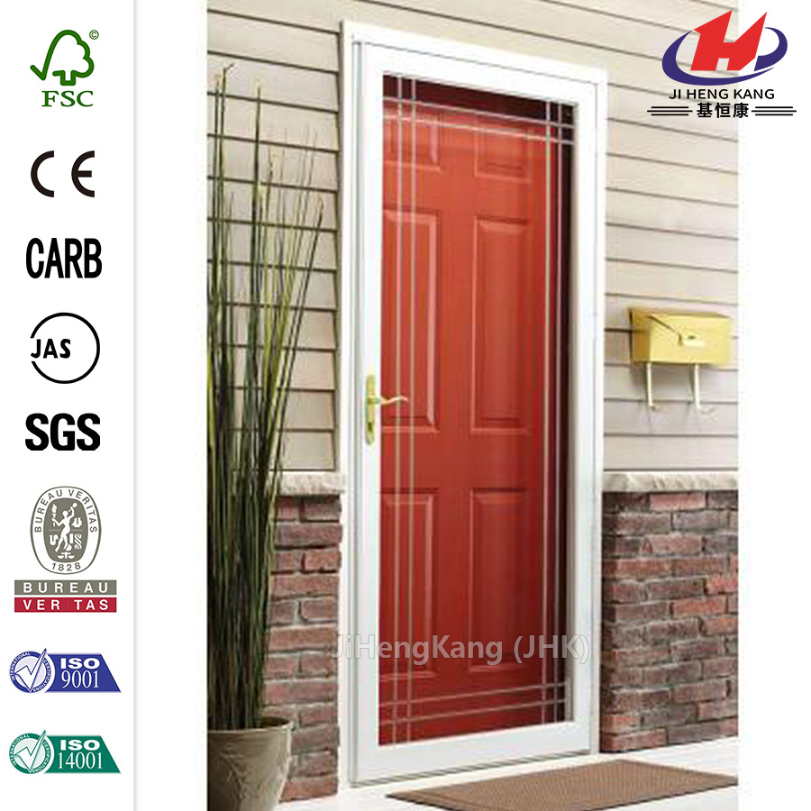China white full view etched glass storm door manufacturers for Storm door manufacturers