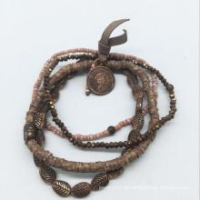 Glasperlen Echtleder Legierung Perlen Armband (XBL13560)