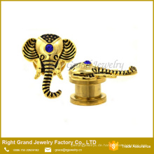 Gold plattiert Surgical Stahl Silber Crystal Jeweled Elephant Ear Plugs Gauges
