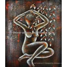 Peinture à l'huile abstraite de corps féminin nu