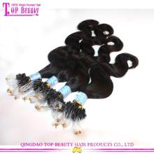 Qualidade superior não processado brasileiro corpo onda cabelo extensões 100% virgem micro anéis extensões do cabelo ondulado do laço