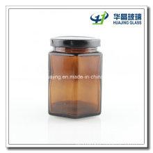 250ml 8oz Amber Hexagon Glass Mason Jar with Black Lid