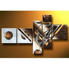5 Paneles Pintura hecha a mano abstracta del bronce, arte de la lona