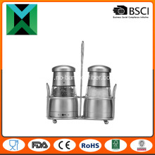Stainless Steel Manual Pepper Mill with Metal Stand
