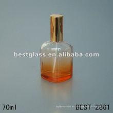 Botella de vidrio perfumada de nuevo diseño con rociador y tapa de aluminio naranja 70ML