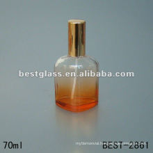 new designed mould perfume glass bottle with sprayer and orange aluminum cap 70ML